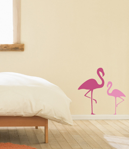 Flamingo Pair Bird Wall Decal